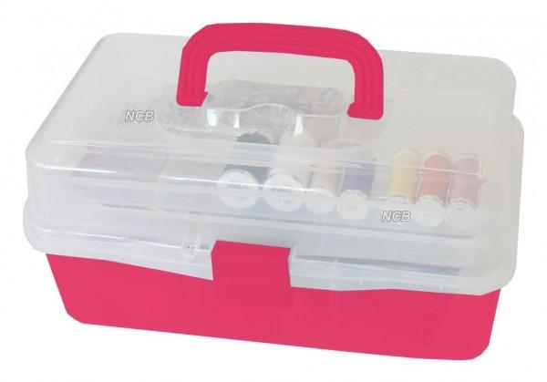 Zubehörbox pink mit 3 Ablagen - leer