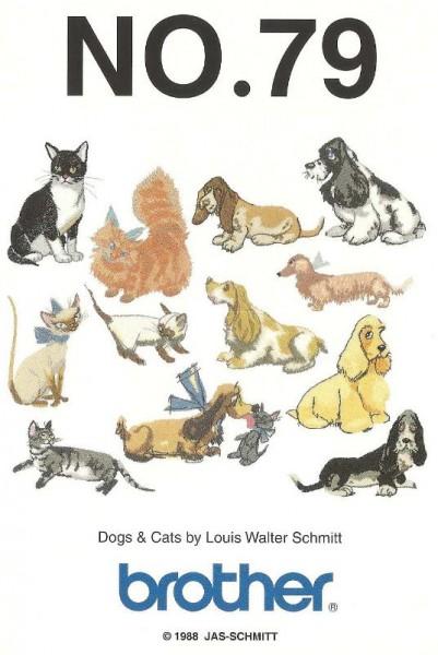 BROTHER Stickmusterkarte Nr. 79 Katzen und Hunde