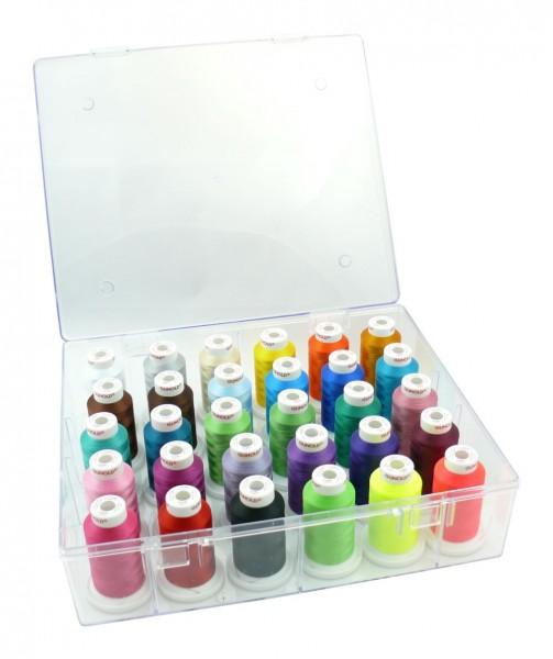 Acryl-Garnbox mit 30 Konen Stickgarn gefüllt