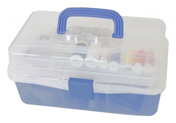 Zubehörbox blau mit 3 Ablagen - leer